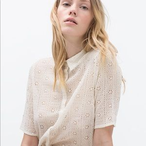 NWT👚Zara embroidered shirt with collar size M